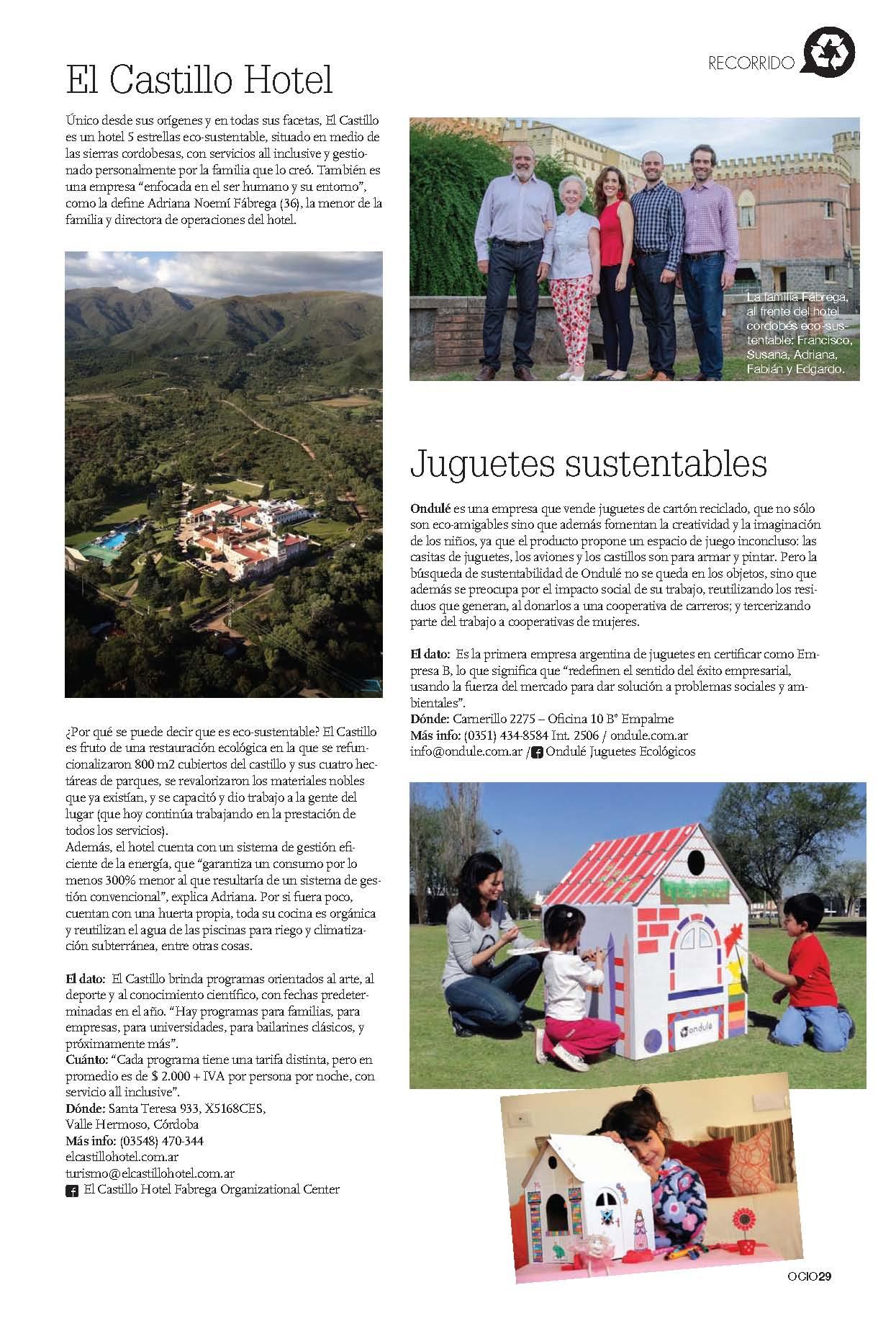 El Castillo Hotel en Revista Ocio